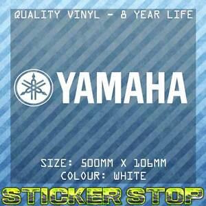 YAMAHA VINYL STICKER (50cm, WHITE) MOTORBIKE, BIKE, WINDOW, DECAL