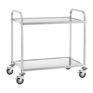 Servierwagen Küchenwagen Rollwagen Küchentrolley Beistellwagen 2 Etagen 4 Räder