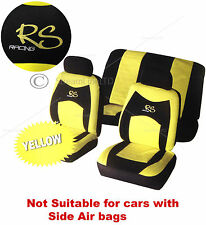 UNIVERSALE 6 Pezzi Giallo & Nero RS Car Seat Poggiatesta Coperture Copertura Protettore Set
