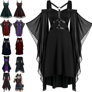 Retro Women Victorian Gothic Medieval Witch Costumes Fancy Dress Party Cosplay