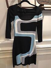 """BCBG MAXAZRIA WOMEN'S BODYCON KNIT DRESS 3/4"""" SLV SZ XS BLACK/GEOMETRIC"""