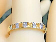 10K YELLOW GOLD .50 CARAT NATURAL CITRINE & DIAMOND RING + RING BOX   SIZE 6.75