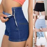 Sexy Womens Slim High Waist Jeans Denim Hot Pants Tight A Side Button Shorts