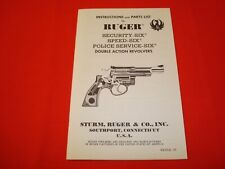 RUGER Security-six, Speed-six, Police service-six  instruction Manual 1977