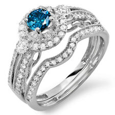 1.00 CT 10k White Gold Round Blue And White Diamond Bridal Engagement Ring Set