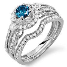1.00 CT 10k White Gold Round Blue And White Diamond Bridal Engagement Ring Set