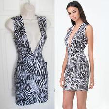 BEBE SCUBA PLUNGE NECK ZEBRA PRINTED DRESS NWT NEW $119 SMALL S