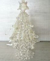 """VINTAGE CLEAR SPUN GLASS CHRISTMAS TREE FIGURINE GLITTER 3.75"""" INCHES"""