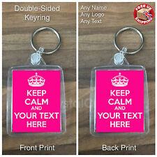 Personalised Custom Text Photo Gift Keyring - Keep Calm and Carry On - 2 Sided