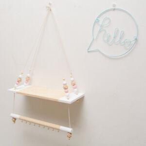 Nordic Style Wooden Beads Wall Hanging Shelf Nursery Kids Bedroom Wooden Decor