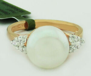 GENUINE 10 mm PEARL & WHITE SAPPHIRES RING .925 Silver  ** New with Tag **