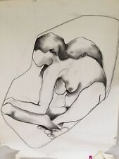 Artist Female Nude Study Drawing Large Original Art Abstract Vintage On Paper