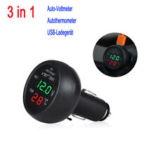 3in1 Auto Zigarettenanzünder Steckdose USB +Voltmeter+Thermometer B7006G