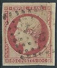 1853-60 FRANCIA USATO NAPOLEONE III 80 CENT ROSA - EDF001