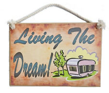 Country Printed Quality Wooden Sign With Hanger Living The Dream Caravan Plaq...