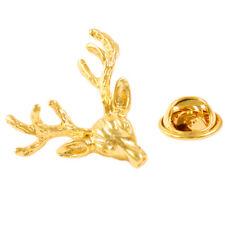 Pin Badge Mens Shirt Brooch Xmas Gold Polished Elk Deer Head Collar Lapel