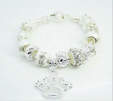 XMAS wholesale solid Silver European Murano Glass Bead Charm Bracelet +Box XB059