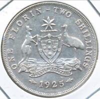 Australia 1925 Florin 2/- George V (Silver) - Very Fine
