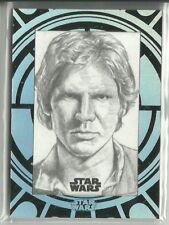 2015 Topps Star Wars High Tek Sketch Card Han Solo by Unknown Artist