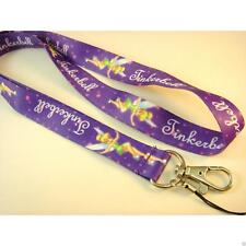 NEW Purple Tinkerbell Print Multi Lanyard ID Card Holder Neck Phone Strap Clip