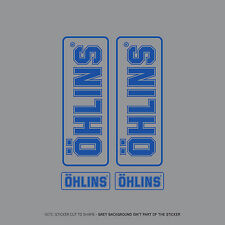 SKU2406 - Set Of 4 Ohlins Stickers - Decals - Motorcycling - Blue On Clear