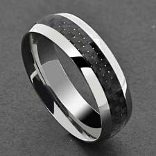 Titanium Black Carbon Fiber Stripe Comfort Fit Men's Wedding Band Ring sz 8-15