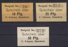 [11932] - 3 x NOTGELD RAMSBECK, F. Schranz, 10 - 50 Pf, o. D. (um 1918), Tieste