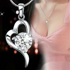 China Wholesale New 925 Silver Heart Crystal Necklace Girls Costume jewelry Gift