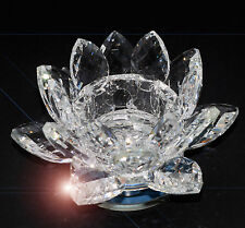 Crystal Glass Lotus Flower Candle Tea Light Holder Spin system & Gift box