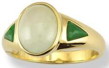 Sz 7 Natural Ice & Green Jadeite Jade 14K Yellow Gold Ring