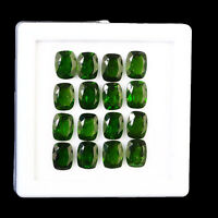 16 Pcs Natural Chrome Diopside 8mm/6mm Cushion Cut Vivid Green Deluxe Gemstones