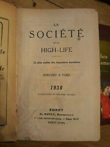 """BOTTIN MONDAIN """"LA SOCIETE ET LE HIGH-LIFE"""" 1930 etat correct"""