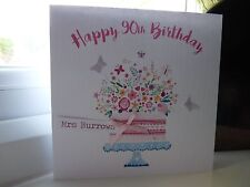 Handmade Personalised Female Birthday Cake Card 50th 60th 70th 80th 90th 100th