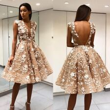 Champagne Short Wedding Dresses Deep V Neck Backless Appliques Plus Size Custom