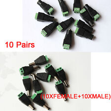10X  Female & Male Led Connector DC Power Plug Jack Adapter For 5050 3528 Strip
