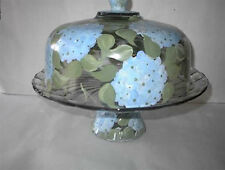 HAND PAINTED BLUE HYDRANGEA CAKE PLATE/PUNCH BOWL(MADE IN THE USA)