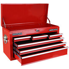 HARDCASTLE GLOSS RED 6 DRAWER LOCKABLE METAL TOPCHEST TOOL BOX WITH CARRY HANDLE
