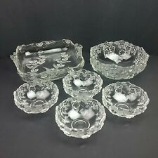 Glass Dessert Set Serving Bowl & 4 Dishes and Similar Square Dish Floral Frosted