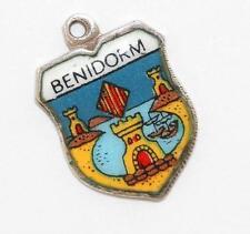 Vintage 800 Silver Enamel Benidorm Spain Travel Shield Bracelet Charm