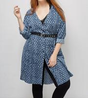 Lane Bryant Printed Shirtdress Womens Plus 28 Blue/White 6th & Lane 4x