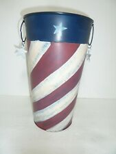 "12"" French Flower Bucket Red White & Blue Stars & Stripes Americana"
