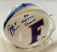 Jacquez Green Autographed Florida Gators 1996 National Champion Mini Helmet COA