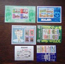 Malawi 6 x M/S 1978-83 Railway Xmas Trees Airport London 1980 etc MNH