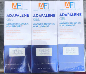 3 Pack AF Adapalene Gel Acne Treatment .5oz Each for Face Skin Topical Retinoid