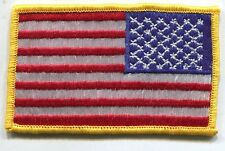 AMERICAN FLAG EMBROIDERED PATCH iron-on GOLD BORDER USA US United States Reverse