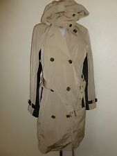 MICHAEL KORS Womens Khaki Beige Belted Trench Coat Jacket Faux Leather Trim sz 6