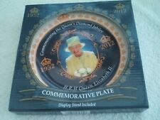 Queen Elizabeth's Diamond Jubilee commemorative plate, with box and  stand