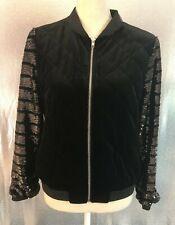 Soprano Black Quilted Velvet Sequin Stripe Sleeves Bomber Jacket NWT Womens Sz S