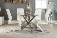 SELINA Chrome Round Glass Round Dining Table and 4 Modern Leather Dining Chairs