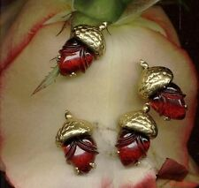 VINTAGE RED Ruby HEARTS Valentine JEWELS ACORNS Glass PENDANTS CHARMS DROPS